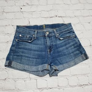 7 For All Mankind Blue Denim Jean Shorts 24
